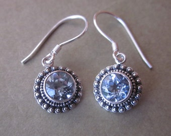 Bali Sterling Silver 925 Blue Topaz Dangle Earrings / 1 inch / silver topaz earrings
