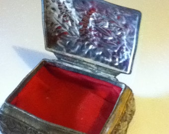 Vintage Pewter Jewelry Box-