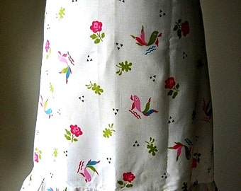 APRON Kitchen Pinafore Cook Chef Skirt Cover Vintage Light Cotton Fish & Flowers