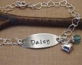 Girl's name bracelet - Little girl's birthstone bracelet - Dainty Sterling Silver bracelet with birthstone crystal - Photo NOT actual size