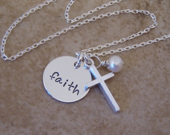 """Faith necklace - Cross and pearl necklace - Dainty 1/2"""" faith charm - Godmother gift - Girl's cross necklace - Photo NOT actual size"""