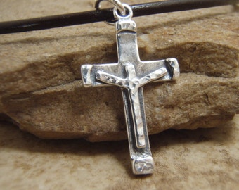Boy's cross necklace - Boy's First Communion gift - Hammered cross charm - Crucifix cross charm on leather cord necklace