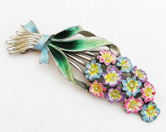 Coro 1942 Multi Color Enamelled Flowers Brooch