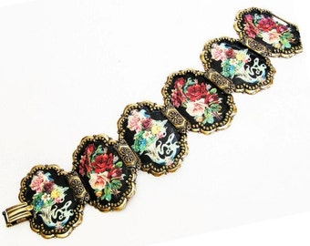 Victorian Revival Cherubs and Roses Bracelet