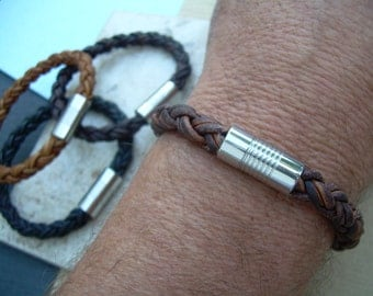 Mens Stainless Steel  Magnetic Clasp Thick Braided Leather Bracelet, Mens Jewelry, Leather Bracelet, Mens Bracelet