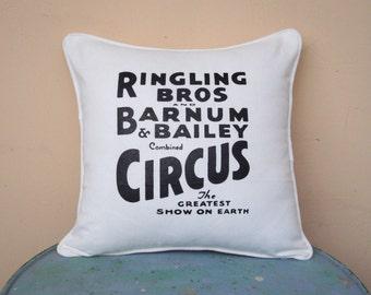 "Circus Sideshow ivory 16"" x 16"" throw pillow cover - circus decor, decorative pillow, cool gift, burlesque decor, calligraphy"