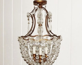 Vintage Brass Chandelier with Prisms Basket Style Chandelier
