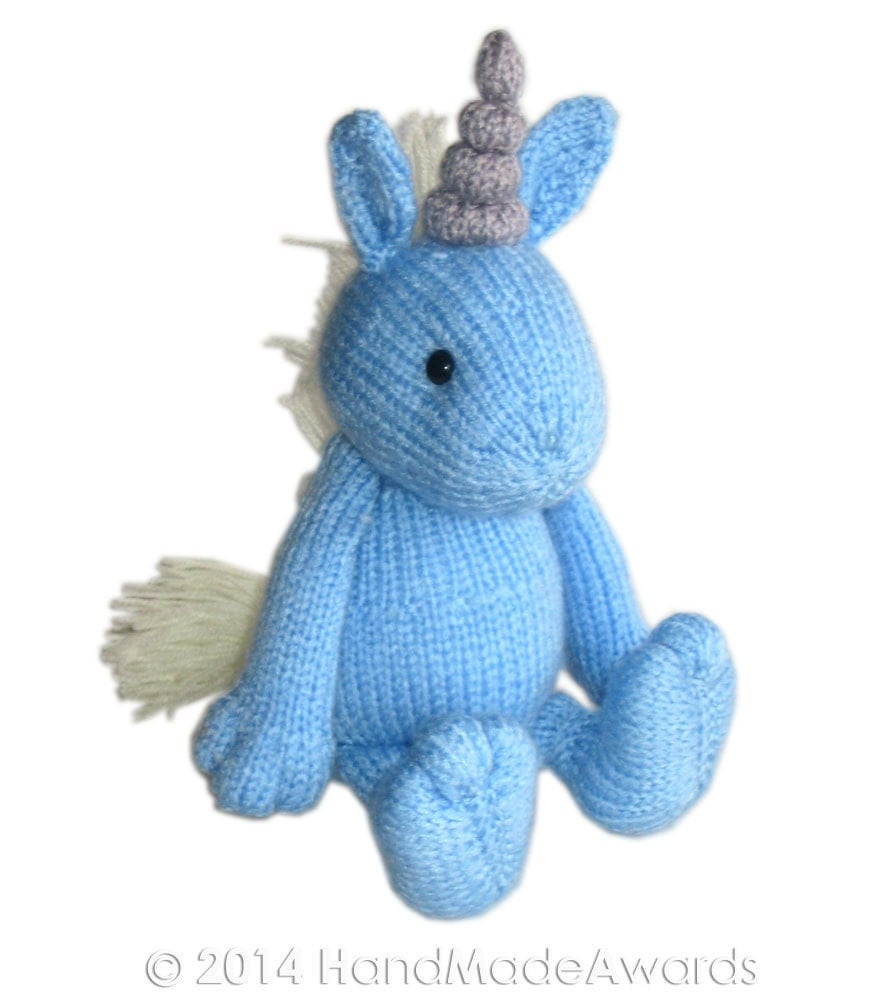 Knitting Patterns For Unicorns : Blue UNICORN Pdf Email Knit PATTERN