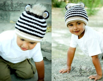 SALE - 12 to 24 months - Hand Knitted Zebra Hat with Mane - Ready  to Ship