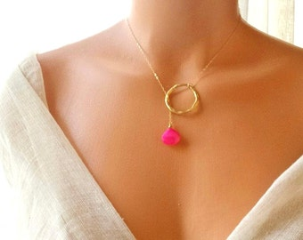 Gold filled chain wrap Briolette Fuchsia chalcedony stone necklace, pink, boho, unique, exotic, lariat