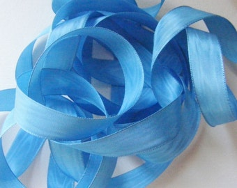 Vintage 40's French Rayon Moire Ribbon 11/16 inch -Milliners Stock- Summer Blue