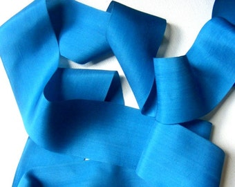Vintage 1930's French Faille Rayon Ribbon 1 3/4 Inch  Teal Blue