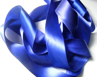 Vintage 1930's-40's French Double Face Satin -Milliners Stock- 1 9/16 inch Gorgeous Royal Blue