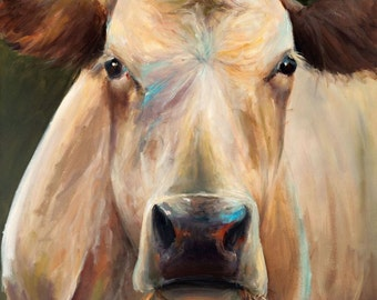 Cow Painting - Bridget - Paper or Canvas Giclee Print