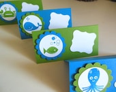 Sea creature, whale, octopus, crab, fish food labels or food tent cards - Set of 10