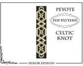 Peyote Bead Pattern Celtic Knot Bracelet Black Seed Bead Knotwork Beading Odd Peyote Tribal Folk Geometric Gold Peyote Bracelet Pattern
