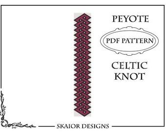 Peyote Bead Pattern Celtic Knot Bracelet Seed Bead Peyote Beading Pattern Tribal Folk Geometric Black Red PDF Celtic Pattern Even Peyote