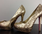Sparkly Gold Heels with Added Rhinestone Detail at Toe - DelilahBurlesque