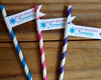 Snowflake Birthday Paper Straws Personalized Flags Winter Party Blue Magenta Purple Custom