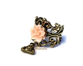 Lotus and Buddha Ring - Adjustable - Peaceful Peach Lily Ring - Namaste - Novelty Ring