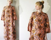 50s 60s silk KAFTAN dress. Oriental tent maxi dress - small, medium. one size