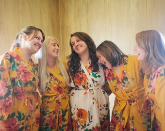 Yellow Bridesmaids Robes Kimono Crossover Robe. Bridesmaids gifts. Getting ready robes. Bridal Party Robes. Floral Robes. Dressing Gowns