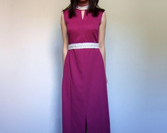 70s Fuchsia Dress Long Maxi Dress Sleeveless Metallic Silver Party Dress - Medium M