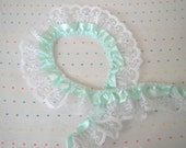 Mint Green Satin and White Lace Ruffle Trim