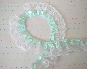 "Mint Green Satin and White Lace Ruffle Trim, 2"" Wide - 1 Yard"