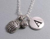 Baseball Mitt and Ball Necklace, Baseball Charm, Baseball Keychain, Silver Plated Charm, Engraved, Personalized, Monogram