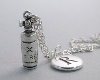 Fire Extinguisher Charm Necklace, Keychain, Silver Plated Charm, Initial Charm, Engraved Initial, Personalized, Monogram