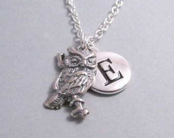 Owl on Branch Charm Necklace, Owl Keychain, Sterling Silver Charm, Engraved, Personalized, Monogram