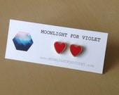 Poppy red brass heart stud earrings - limited quantities