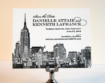 Letterpress Wedding - Save the Date - Custom - New York City Skyline