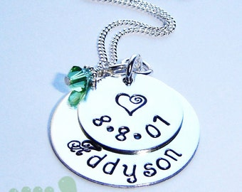 Mother necklace - handstamped jewelry - Birthstone necklace - kids name charm necklace
