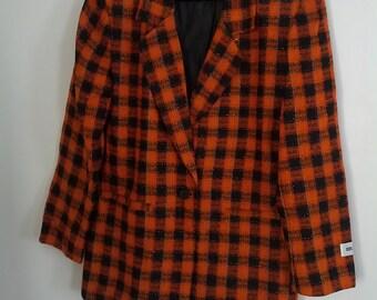 orange plaid blazer jacket coat Silk size 10 boho grunge 80s buffalo plaid metallic