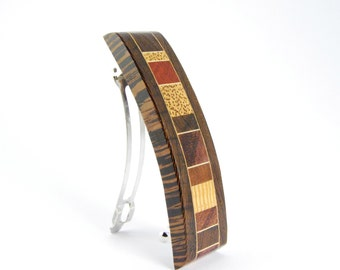wood barrette / french clip / natural wood barrette / mosaic wood