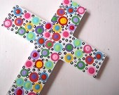 Hand painted Wooden Cross - Polka Dot Cross - White Dotted Cross