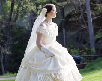 Bridal Wedding Victorian Civil War Steampunk Gown Dress includes veil