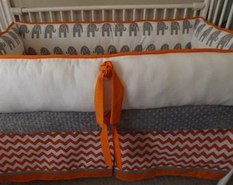 Orange, Gray and White Chevron Baby bedding Crib set DEPOSIT Down payment Only