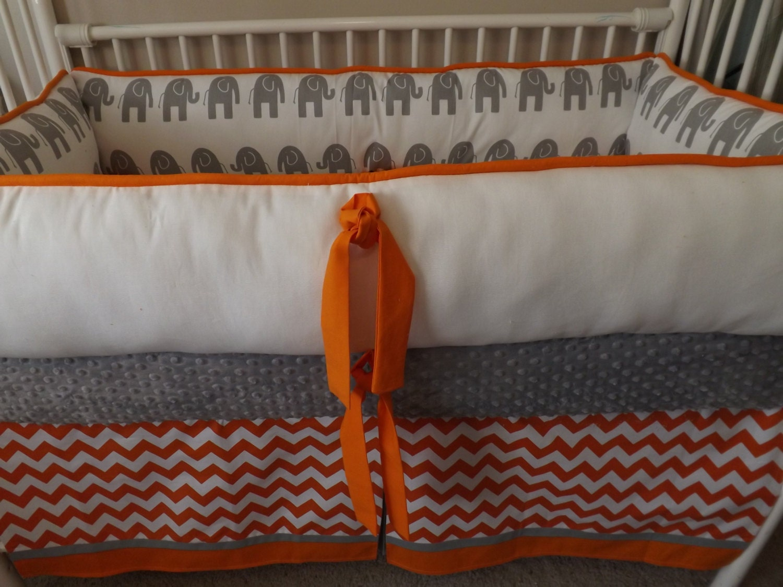 Orange gray and white chevron baby bedding crib set deposit - Orange and grey comforter ...