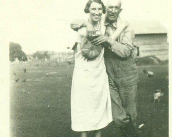 Fun on the Farm Father Daughter Hug Laugh Love 1930s Vintage Black and White Photo Photograph