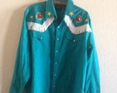 Vintage 80s western teal blouse with fringe