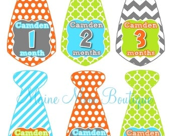 NAME Personalized Baby Boy Monthly Milestone Stickers Month Photo Prop Bodysuit Baby Sticker Gift Stripes Chevron Dots Tie