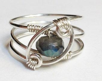 Labradorite  Silver Ring   Labradorite Jewelry    Labradorite Gemstone  Rings    Sterling Silver Ring
