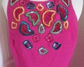 1980s Ladies Magenta Pink Silk Tank Sequined Beaded Bob Mackie Dress Size Small