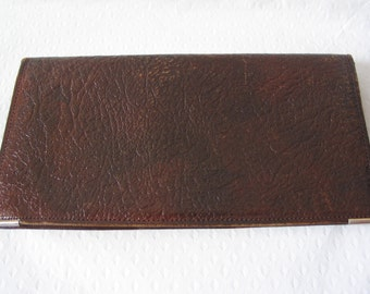 Lovely dark brown real goat leather wallet with gold twill lining, Made in England