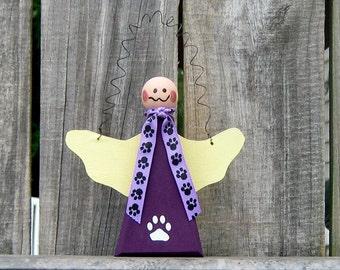 Angel, Pet Memorial, Painted Wood, Primitive Angel, Paw Prints, Pet Angel, Hanging Angel, Purple, Yellow, Paw Ribbon
