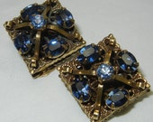 Vintage Blue Rhinestone Earrings Antiqued Brass Gold Filigree Clip On Square