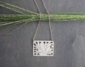 Deco Leaves- Sterling Silver Graphic Minimalist Pendant with Silver Chain Art Deco Asian Ethnic Leaf Nature Woodland Contemporary Necklace